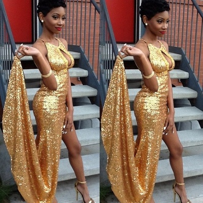 Halter Sexy Newest Gold Sequined Side-Slit Evening Gown_3