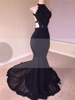Chic Open Back Lace Black Mermaid Long Prom Dresses_1