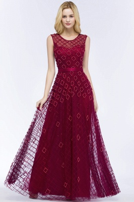 Elegant A-Line Evening Dresses   Scoop Sleeveless Beading Long Formal Dresses_1