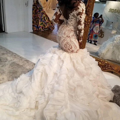 Jewel Lace Mermaid Wedding Dresses with Tiered Train and Long Sleeves_3