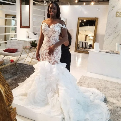 Jewel Lace Mermaid Wedding Dresses with Tiered Train and Long Sleeves_2