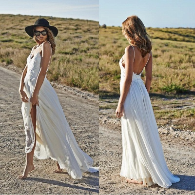Simple Style Spaghetti Strap V Neck Lace A Line Summer Beach Wedding Dresses_6