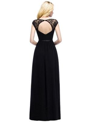 A-Line Chiffon Bridesmaid Dresses | Scoop Cap Sleeves Wedding Party Dress_3