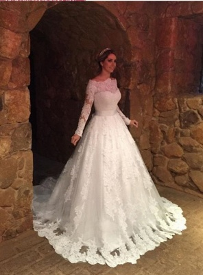 Glamorous A-Line Long Sleevess Off-The-Shoulder Lace-Applique Wedding Dresses_2