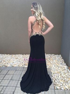 Black Halter Sexy Mermaid Appliques Prom Dress_1