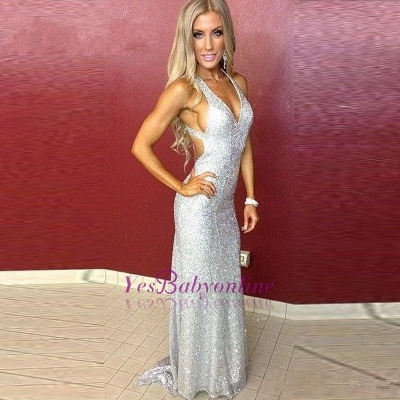 Sexy Silver Sequins Prom Dresses V-Neck Backless Mermaid Evening Gowns_1