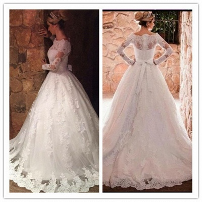 Glamorous A-Line Long Sleevess Off-The-Shoulder Lace-Applique Wedding Dresses_3