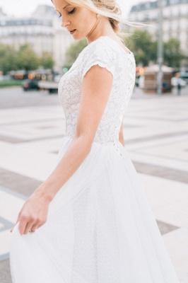 White A-line Cap-Sleeve V-Neck Lace Romantic Wedding Dresses_5