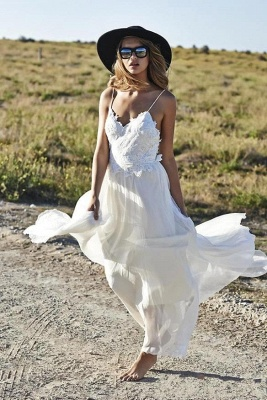 Simple Style Spaghetti Strap V Neck Lace A Line Summer Beach Wedding Dresses_4