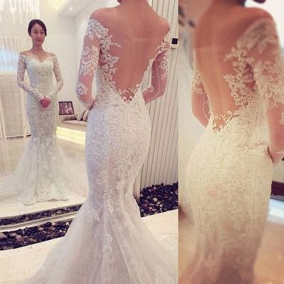 Glamorous Off-the-shoulder Long Sleeve Sexy Mermaid Lace Wedding Dress_3