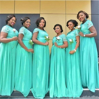 A-Line Mint Green Chiffon Bridesmaid Dresses   Scoop Short Sleeves Lace Wedding Party Dresses_3