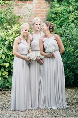 Sliver Ruffles Floor-Length Chiffon Beading Elegant Bridesmaid Dresses_2