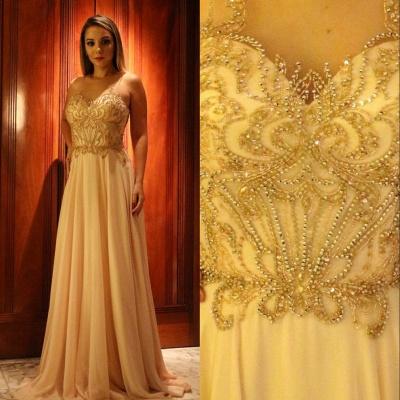 Sleeveless Glamorous Scoop  A-Line Beading Prom Dresses_3