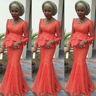 Lace Nigerian Long-Sleeves Floor-length Mermaid Evening Dress_3