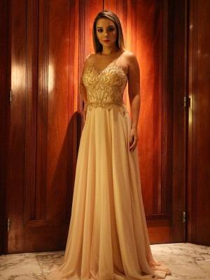Sleeveless Glamorous Scoop  A-Line Beading Prom Dresses_2