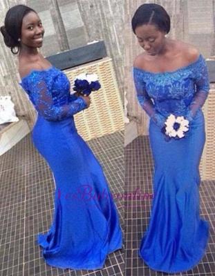 Mermaid Long-Sleeves Off-the-Shoulder Royal-Blue Appliques Popular Prom Dresses_1