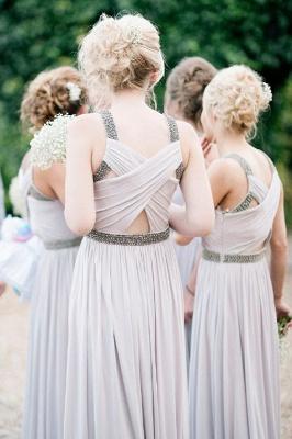 Sliver Ruffles Floor-Length Chiffon Beading Elegant Bridesmaid Dresses_3