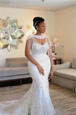 Plus Size Sleeveless Applique Crystal Sequin Fitted Mermaid Wedding Dresses_1