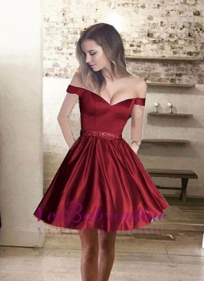 Burgundy Off-the-Shoulder Bead-Belt A-line Glossy Homecoming Dresses_1