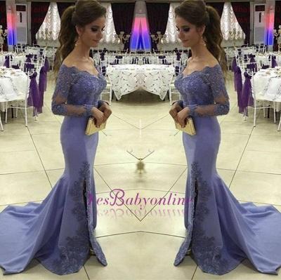 2019 Off-the-Shoulder Prom Dresses Side-Slit Appliques Mermaid Long Sleeves Lavender Prom Dress_1