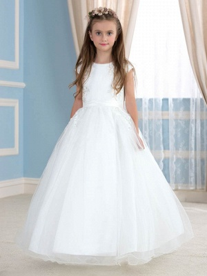 Cute A-Line Tulle Lace Jewel Sleeveless Flower Girl Dress with Beading_1
