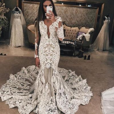 Long Sleeves Lace Wedding Dresses | Sexy Mermaid Lace Long Train Bridal Dress_3