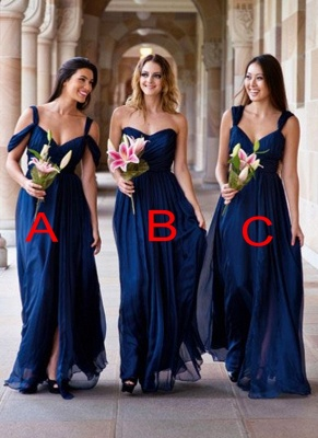 Long A-line Chiffon Dark-Navy Summer Elegant Bridesmaid Dresses_2