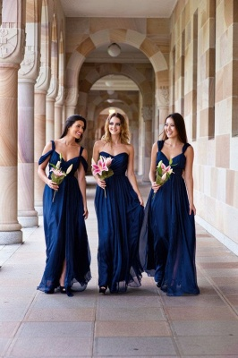 Long A-line Chiffon Dark-Navy Summer Elegant Bridesmaid Dresses_3