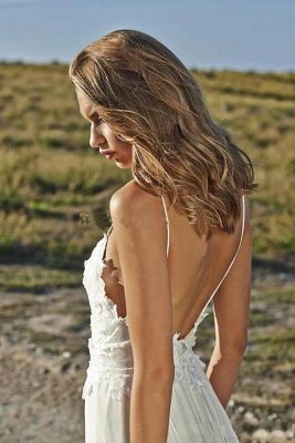 Simple Style Spaghetti Strap V Neck Lace A Line Summer Beach Wedding Dresses_5