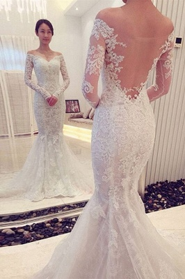 Glamorous Off-the-shoulder Long Sleeve Sexy Mermaid Lace Wedding Dress_1
