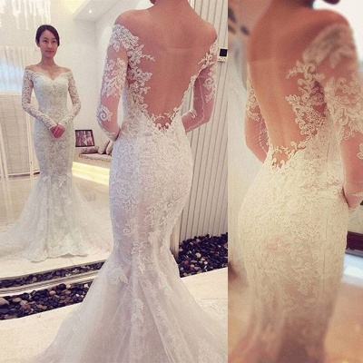 Glamorous Off-the-shoulder Long Sleeve Sexy Mermaid Lace Wedding Dress_3