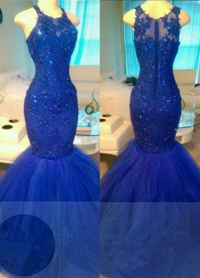 Appliques Elegant Tulle Beadings Sleeveless Mermaid Royal-Blue Evening Dresses_2