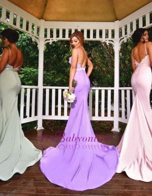 Spaghettis-Straps Long Mermaid 3D-Floral-Appliques Elegant Bridesmaid Dresses_1