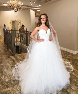 Sweetheart Applique Tulle A Line Wedding Dresses   Backless Wedding Gown_2