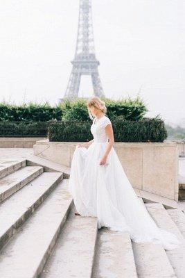 White A-line Cap-Sleeve V-Neck Lace Romantic Wedding Dresses_3