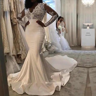 Charming Off-the-Shoulder Mermaid Lace Wedding Dresses_3