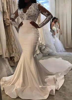 Charming Off-the-Shoulder Mermaid Lace Wedding Dresses_1