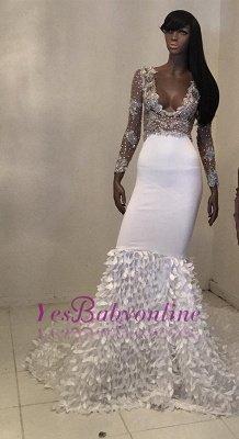 V-Neck Long-Sleeve Beadings Gorgeous Mermaid Prom Dress_1