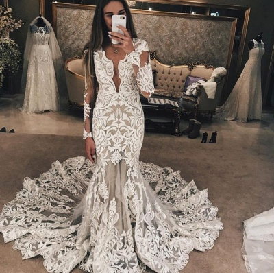 Long Sleeves Lace Wedding Dresses | Sexy Mermaid Lace Long Train Bridal Dress_3
