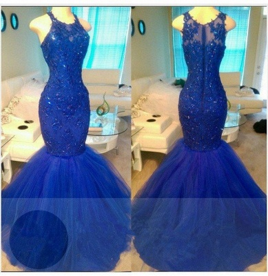 Appliques Elegant Tulle Beadings Sleeveless Mermaid Royal-Blue Evening Dresses_3