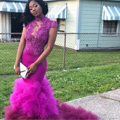 Short Sleeves Appliques Prom Dresses | Purple Mermaid HIgh Neck Evening Gowns_5