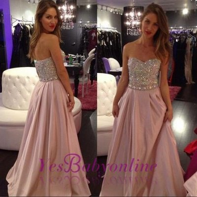 Crystals-Top Sweetheart-Neck Elegant Pink A-line Long Prom Dresses_1