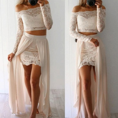 Lace Long-Sleeves Two-Pieces Sexy Off-the-Shoulder Prom Dresses_3