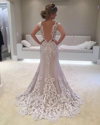 Floor-length Glamorous Cap-sleeve  Mermaid Lace Wedding Dress_3