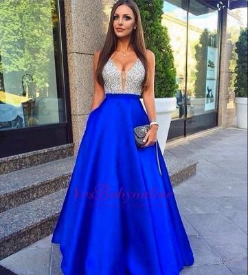 Beaded Sleeveless Royal-Blue V-Neck Puffy Pockets Prom Dresses_1