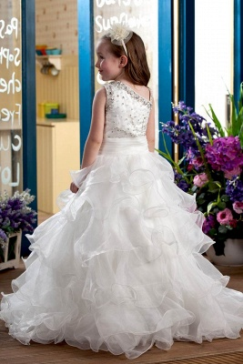 Cute Organza Layered One-Shoulder Floor-Length Flower Girl Dress with Beadings_3
