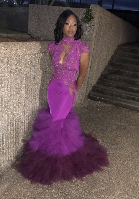 Short Sleeves Appliques Prom Dresses | Purple Mermaid HIgh Neck Evening Gowns_1