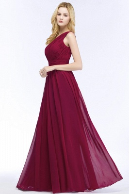 A-line One-Shoulder Bridesmaid Dresses | Ruched Long Wedding Party Dress_3