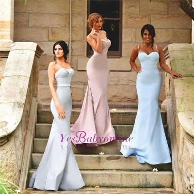 Zipper Mermaid Sleeveless Spaghetti-Strap Elegant Bridesmaid Dress_1