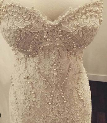 Glamorous Zipper Pearls Sweetheart Lace Mermaid  Wedding Dress_3